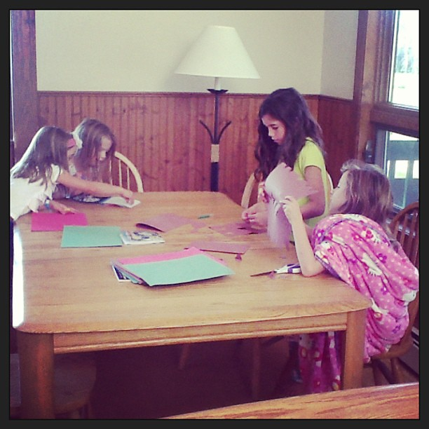 Early morning cousin craft party.