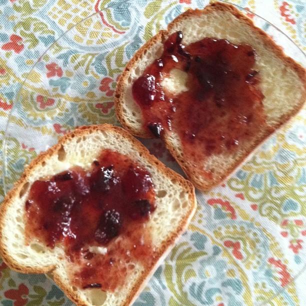 Breakfast - #glutenfree toast with plum jam #photoadayalbsummer