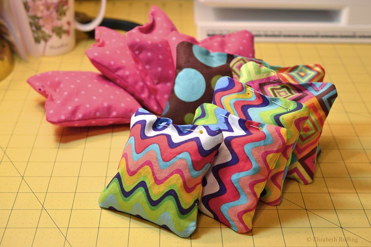 Catnip squares pinned closed, by Elizabeth Ruffing