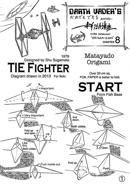 tie fighter origami diagram 1
