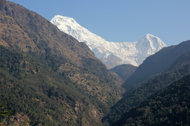 Getting our first glimpses of the snowy Himalayas