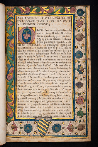 Decorated page incorporating coat of arms in Aristoteles: Ethica ad Nicomachum