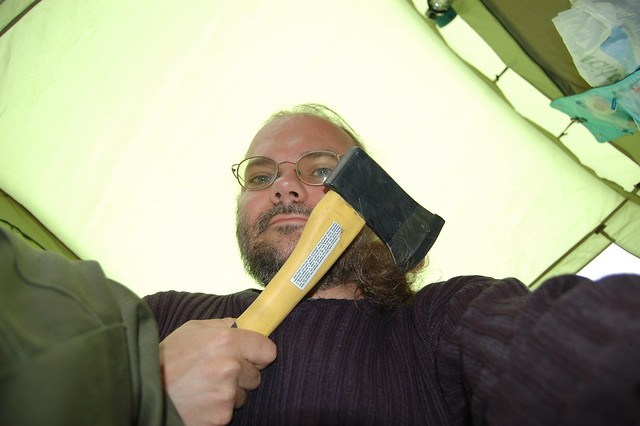 Wulf holding an axe and looking slightly scary