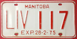 MANITOBA 1974 (EXP 28-2-75) ---LIVERY LICENSE PLATE