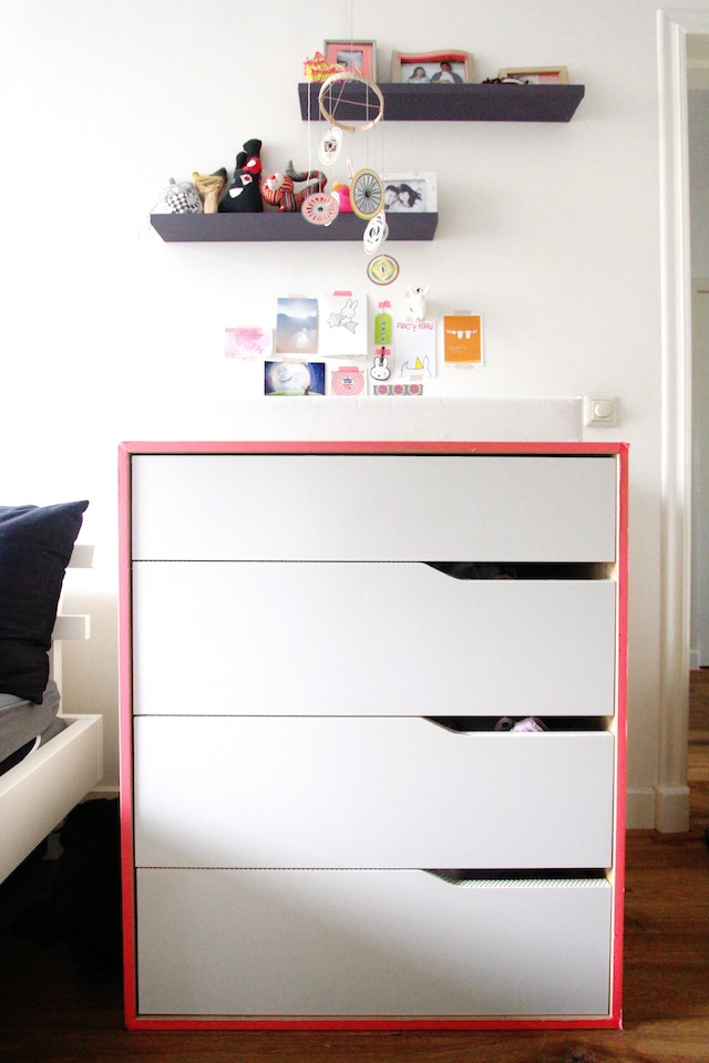 Washi tape trimmed drawers