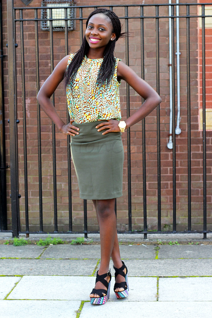 Green chiffon top, green skirt, Aztec print wedges, chiffon top, military inspired ensemble