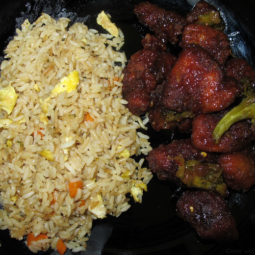 General Tso's chicken and eggy fried rice by Coyoty