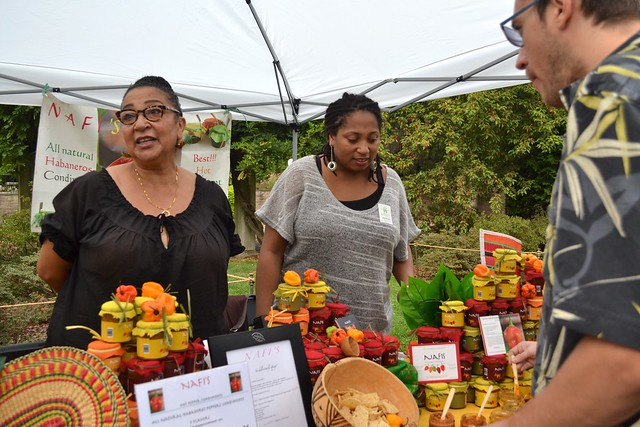 Spicy samples from Nafi's Hot Pepper Condiments. Photo by Blanca Begert.