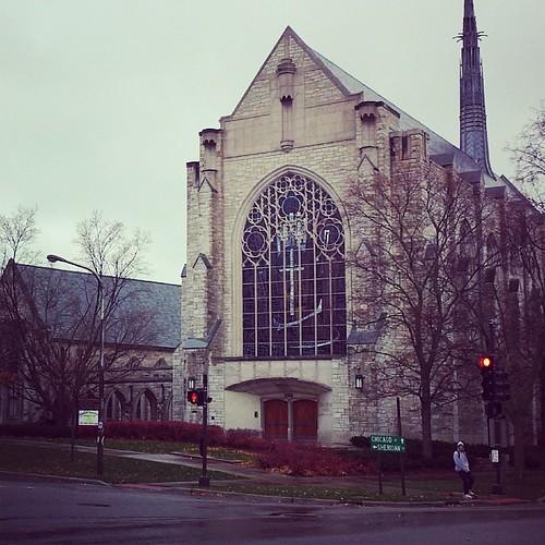 Northwestern University on a cold, windy, rainy day.