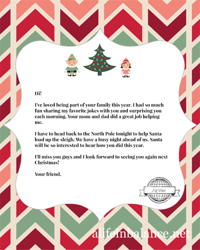 Elf on the Shelf Printable: Goodbye Letter