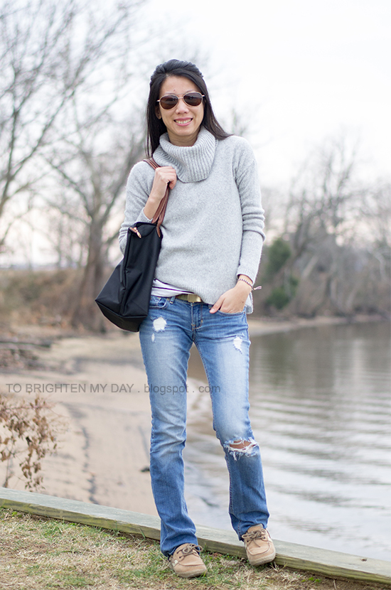 gray cowlneck sweater, striped top, ripped jeans