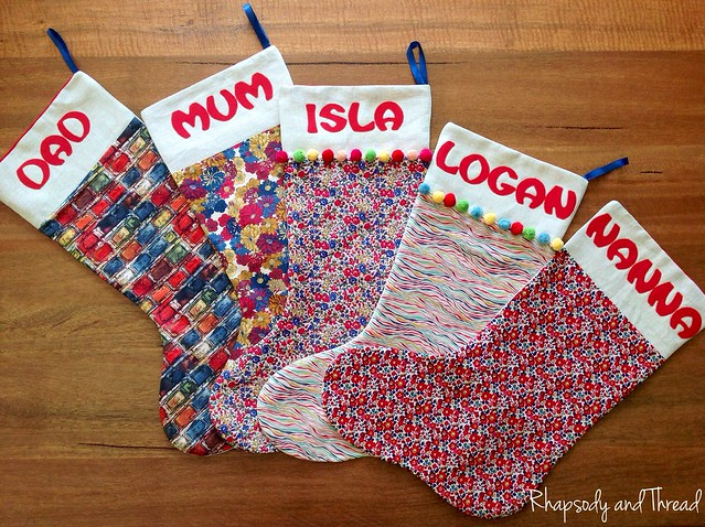 James Family Christmas Stockings by Rhapsody and Thread