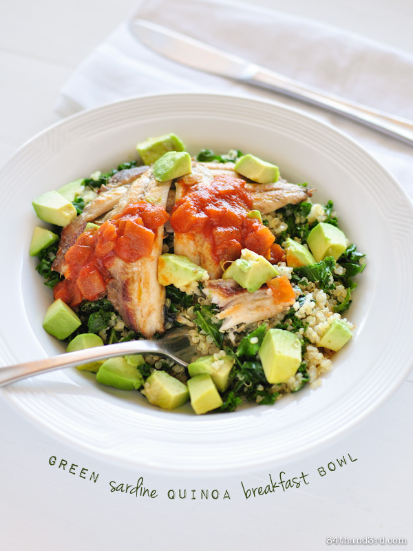 Green Sardine Quinoa Breakfast Bowl