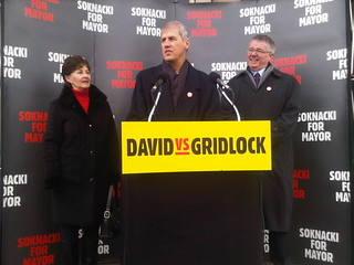 Mayoral Candidate David Soknacki, LRT not Subway, Transit Policy Announcement, Lawrence East SRT Station, Toronto Ontario Canada, 11 a.m. Tuesday January 14 2014 - 017