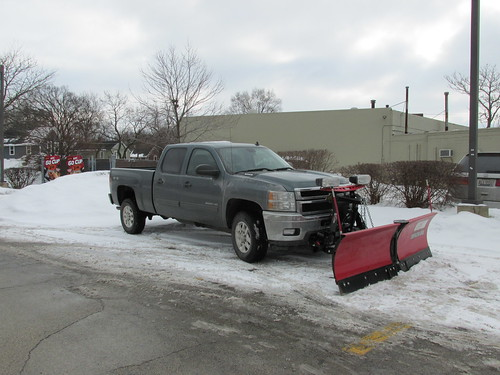 A local snowplow equipped pick up truck.  Elgin Illinois.  January 2014. by Eddie from Chicago