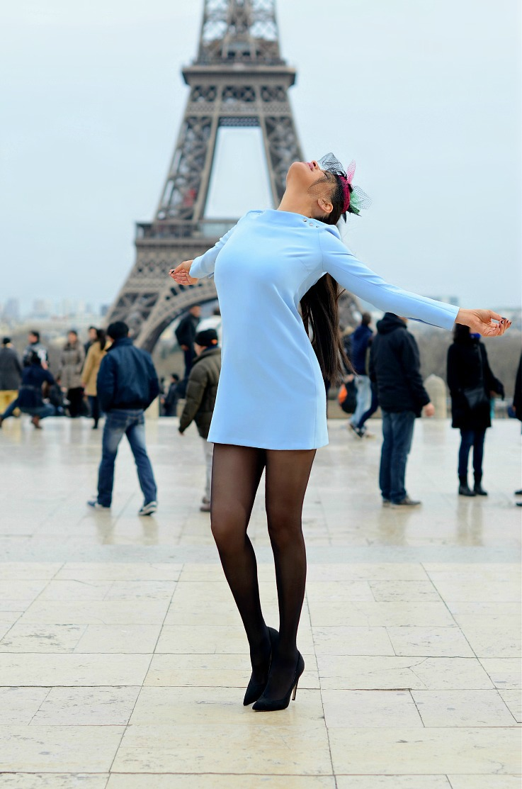 DSC_5913 Baby Blue Zara Dress, Paris, Eifffeltower