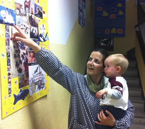 Ian and his future preschool teacher, Carmen