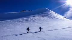 Podejscie na szczyt Gran Paradiso 2061m. Lodowiec Ghiacciaio del Gran Paradiso, wysokośc około 3500m