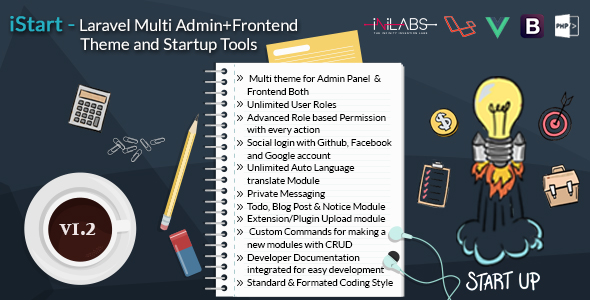 iStart v1.2 – Laravel Multi Admin+Frontend Theme and Startup Tools