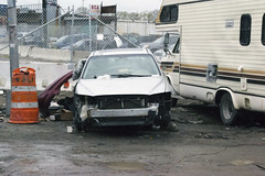 Totaled car in Willets Point