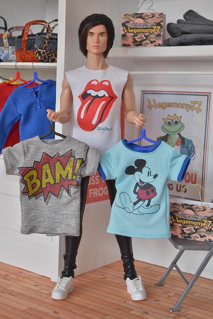Fashion Royalty Male Doll Size Custom T Shirts Custom