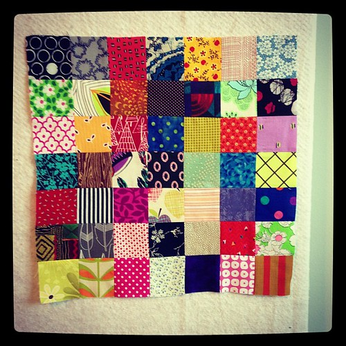 first block of the scrap vomit quilt, finito!