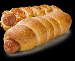 baked goods, ciabatta, food, bread roll, cuisine, baguette, pigs in blankets, sausage roll,