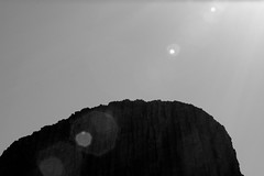Top of Devils Tower B/W