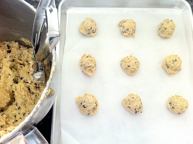 Scooping Cookies onto Lined Baking Sheet