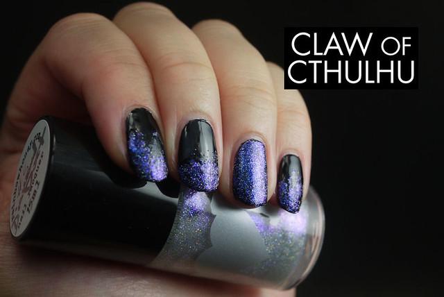 Rainbow Honey Diamond Dust (sponged tips and highlight nail over OPI Black Onyx)