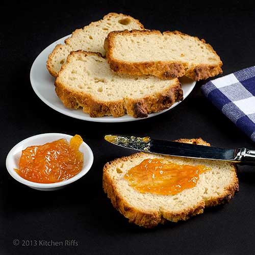 Beer Bread slices with jam