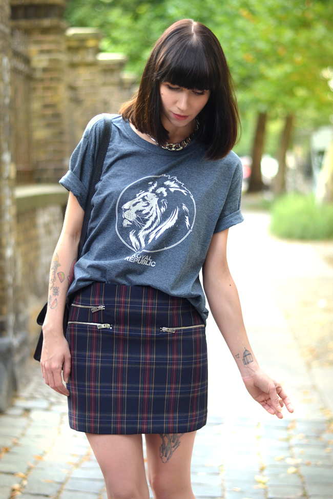 Check Print Royal Republic shirt Proenza Bag Outfit Blogger 4