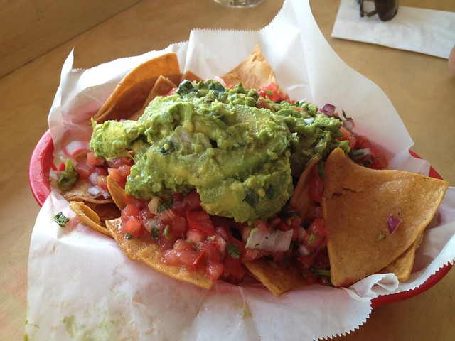 Chips and salsa with Hass avocado guacamole - The Taco Shop at Underdogs