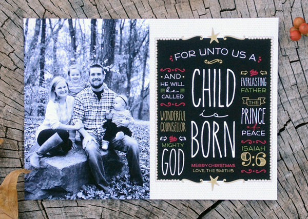 for unto us a child is born - photo christmas card