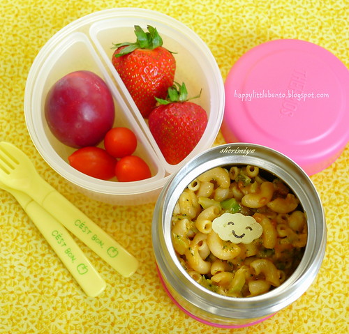 Mac and Cheese, Broccoli, Kabocha and Soyrizo Bento by sherimiya ♥