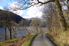 Balquhidder. Main road from Balquhidder to Dhanakosa Buddhist Retreat Centre on Loch Voil Scotland.