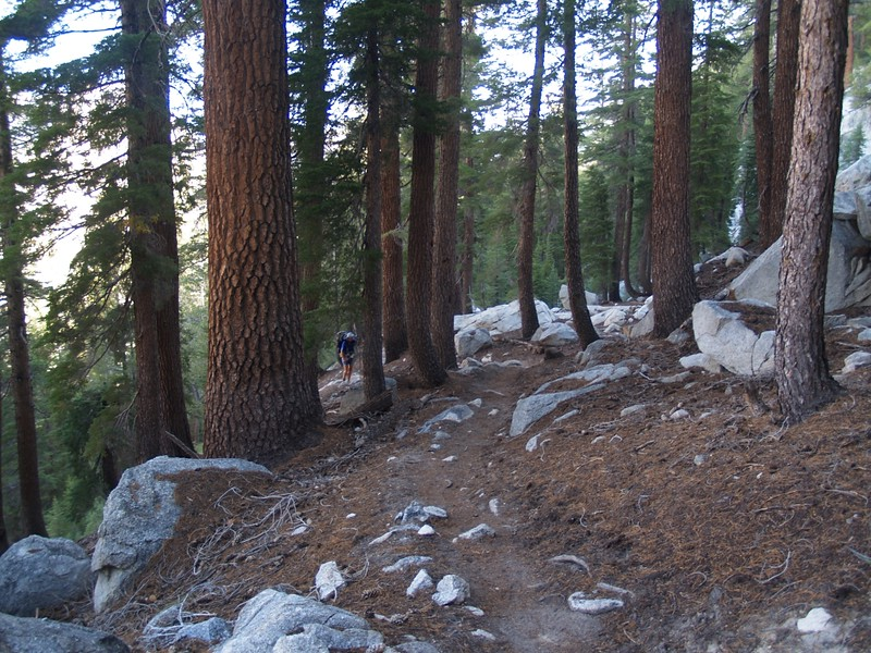 Climbing uphill on the PCT out of Matterhorn Canyon