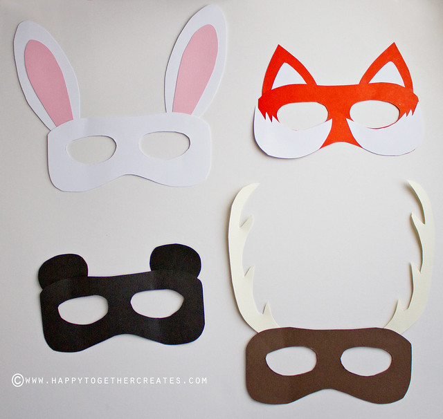 Woodland creature photobooth diy and free animal mask template for Woodland animal masks template