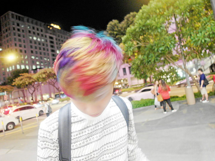 messy rainbow hair