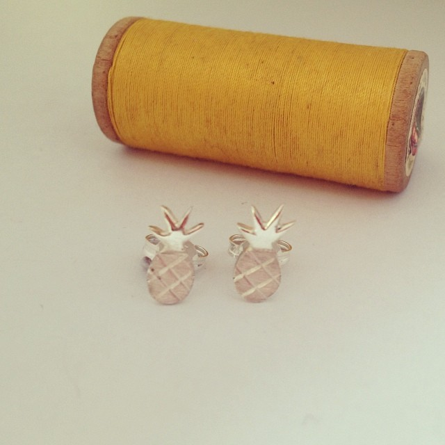 Just about to pop these new handmade silver pineapple studs in to the shop. They're a one off so far, but if you like them I shall make more. :) #handmade #silversmith #earrings #pineapple