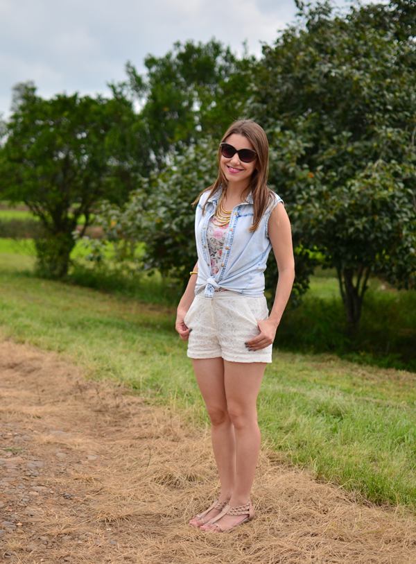 Look da Laura camisa jeans + shorts de renda u2013 Blog da Laura Peruchi u2013 Tudo sobre Nova York