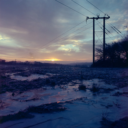 uk winter england 120 6x6 film field sunrise landscape mud kodak frosty hampshire farmland pylon bronica wires electricity icy puddles hursley ektar c41 s2a zenzabronicas2a ektar100 nikkoroc50mm128 s2ac024