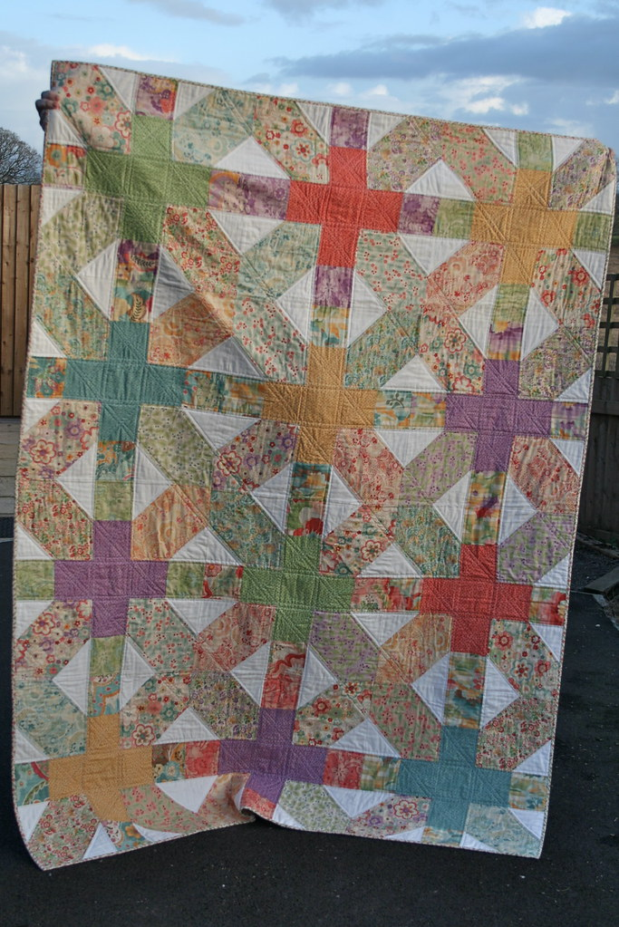 "Giant 20"" x&+ quilt for Siblings Together including tutorial for block pattern by fabricandflowers"