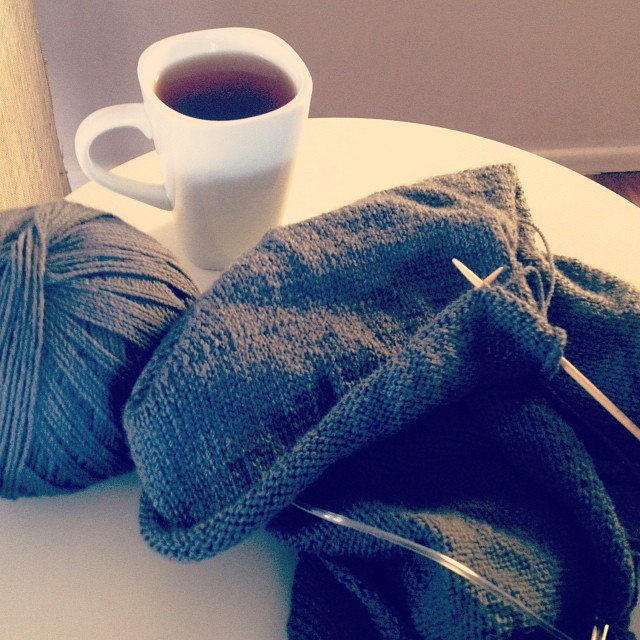 There's a bit of this happening right now. It's been far too long. #knitting #larchcardigan #slowburnproject