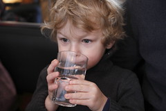 child, hand, nose, drinking, face, hairstyle, finger, head, hair, blond, mouth, person, portrait, boy, toddler,