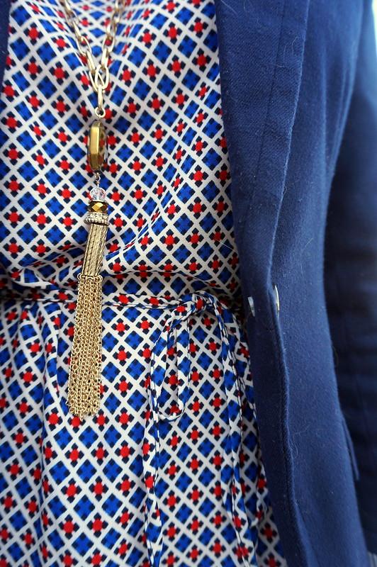 navy blazer with print dress