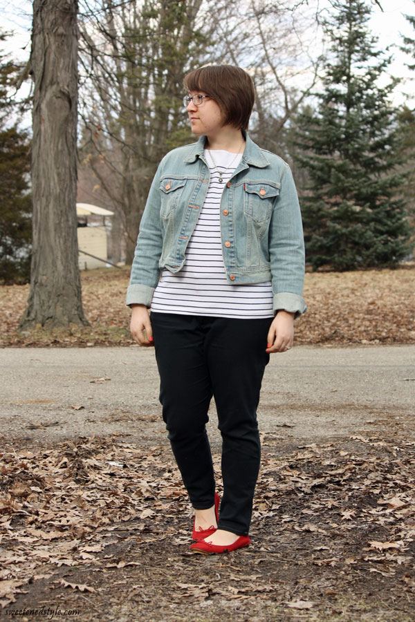striped shirt, denim jacket, black pants, red flats