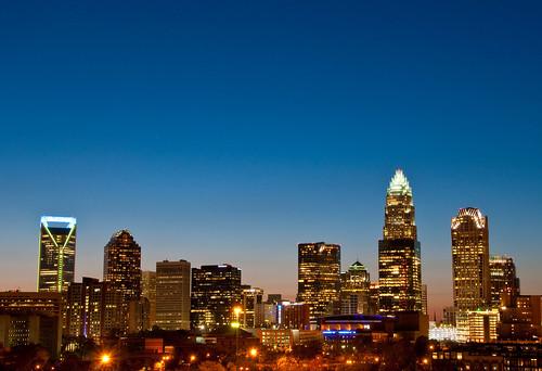 city sunset urban building skyline night skyscraper nc downtown charlotte dusk central center uptown qc clt