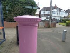 Pink post box - Fox Hollies Road, Hall Green - B28 433