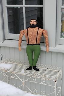 big man, green pants